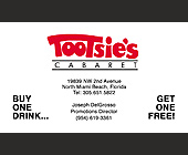 Tootsie's Cabaret Buy One Get One Free Drink Card - tagged with 305.651.5822