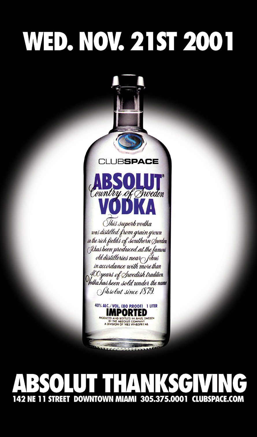 Absolut Vodka Thanksgiving Event at Club Space