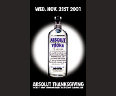 Absolut Vodka Thanksgiving Event at Club Space - Event Flyer