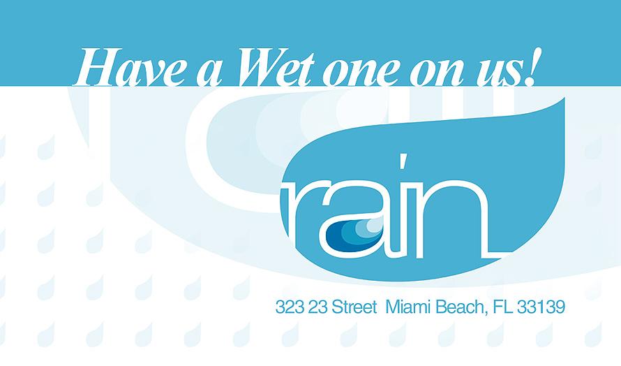 Rain Nightclub Business Card