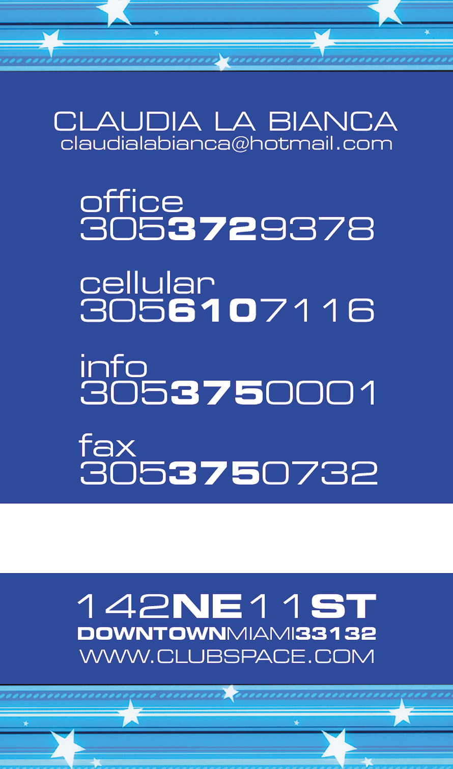Club Space Business Card