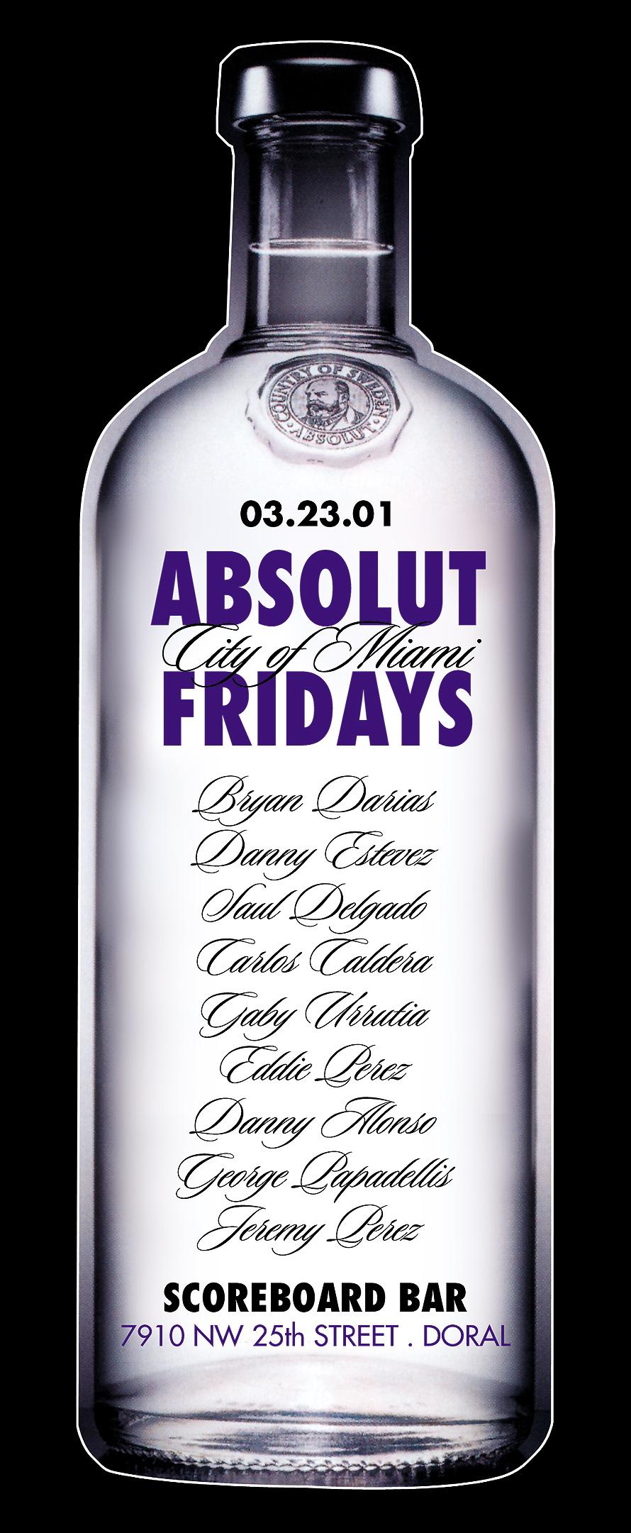 Absolut Fridays at The Scoreboard Bar