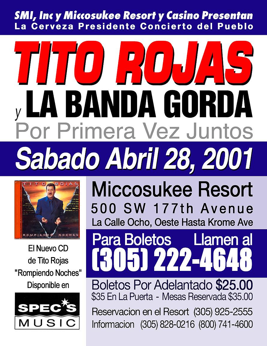Tito Rojas y La Banda Gorda at Miccosukee Resort Casino