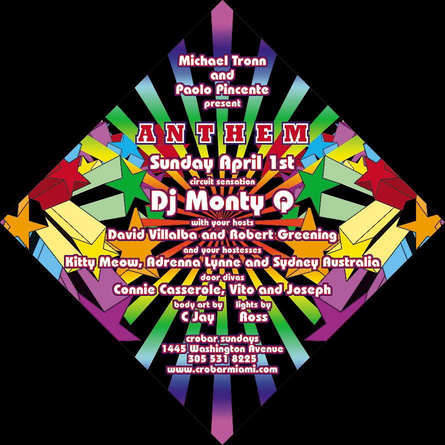 Michael Tronn & Paolo Pincente present Sunday April 1st DJ Monty Q