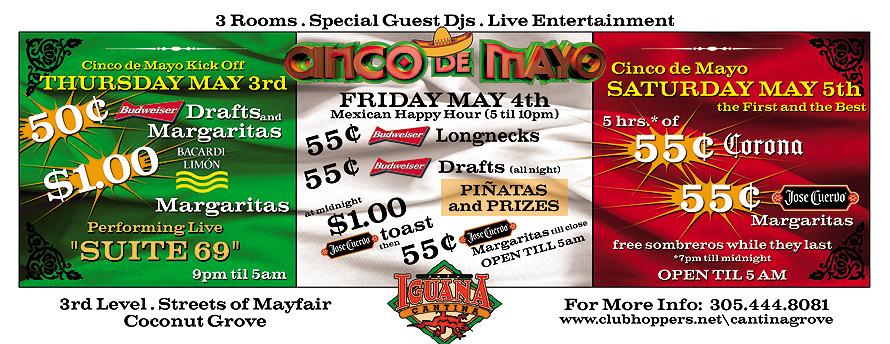Cinco de Mayo Cafe Iguana in Coconut Grove