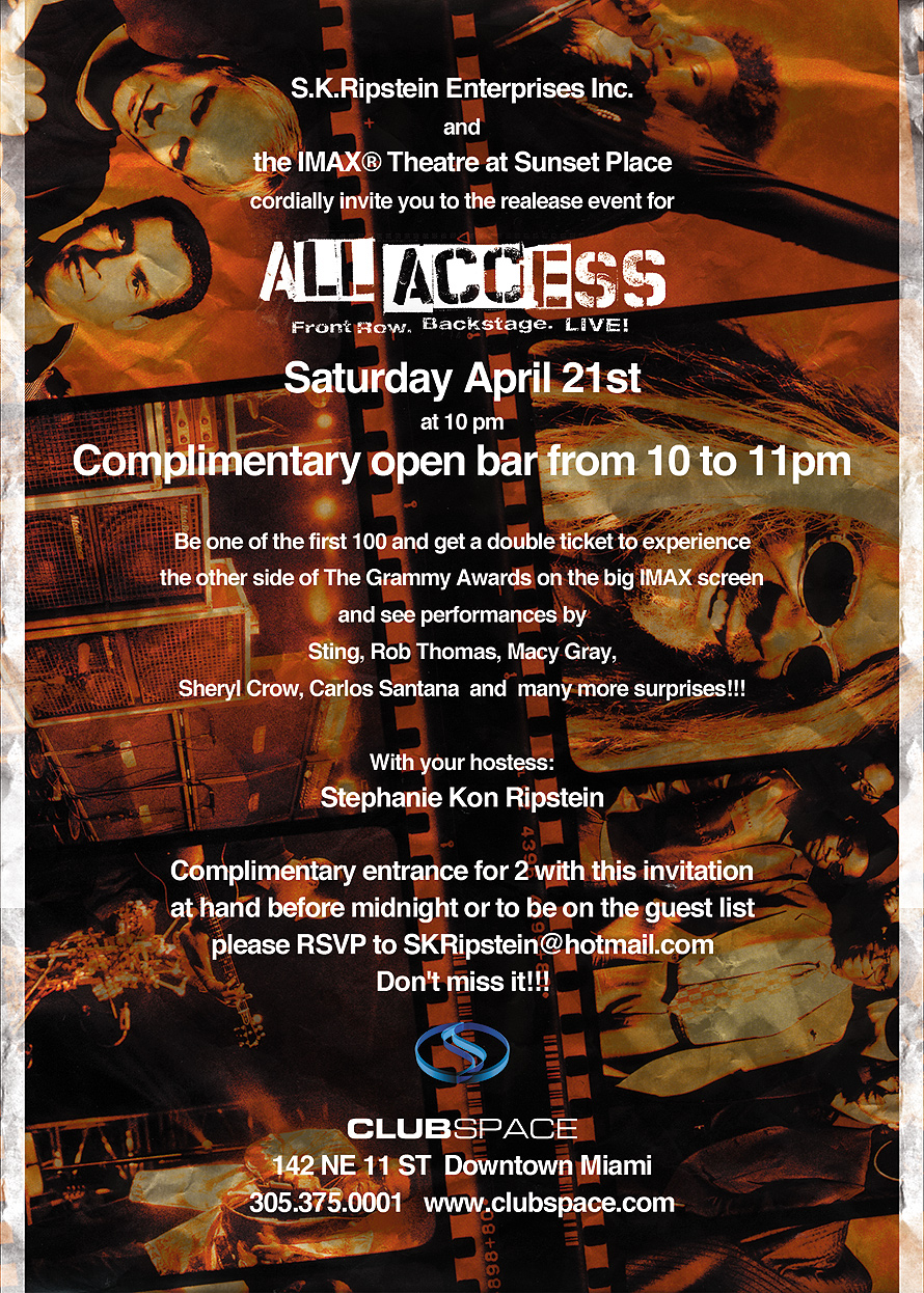 Complementary Entrance All Access at Club Space in Downtown Miami