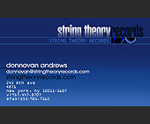 String Theory Records Business Card - tagged with new york city