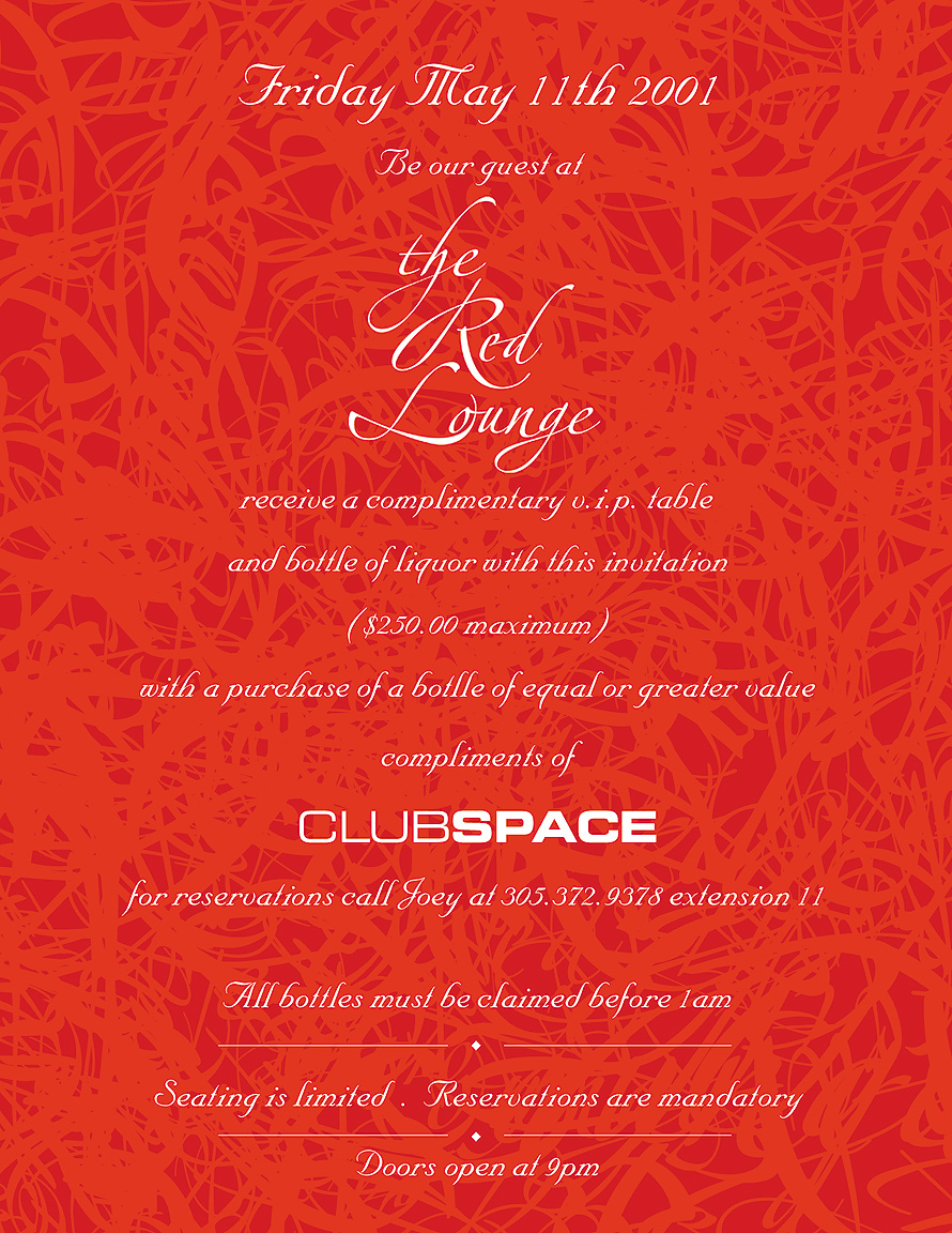The Red Lounge at Club Space Complimentary VIP Table