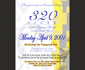All Kosher Passover Party at Club 320 - Club 320 Graphic Designs