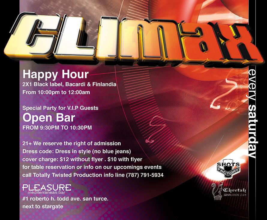 Climax Saturdays at Pleasure Mediterranean Bar