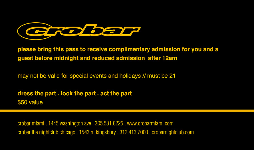 Club Crobar Miami Chicago Complimentary Admission