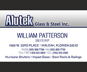 Alutek Sales Rep Business Card - tagged with grungey