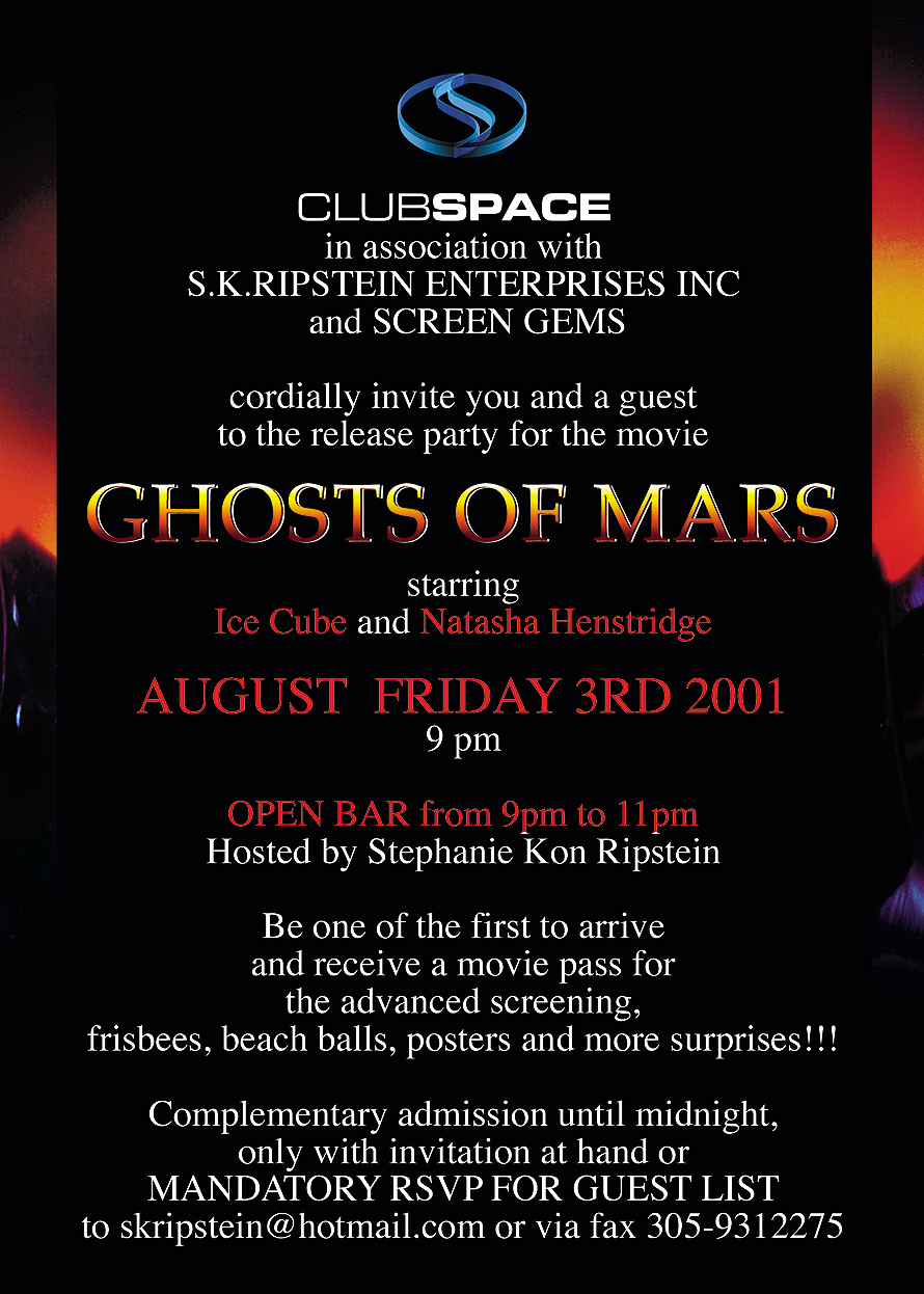 Ghost of Mars Release Party at Club Space