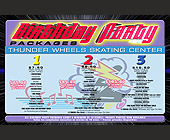 Thunder Wheels Birthday Party Packages Postcard - tagged with 11401 w