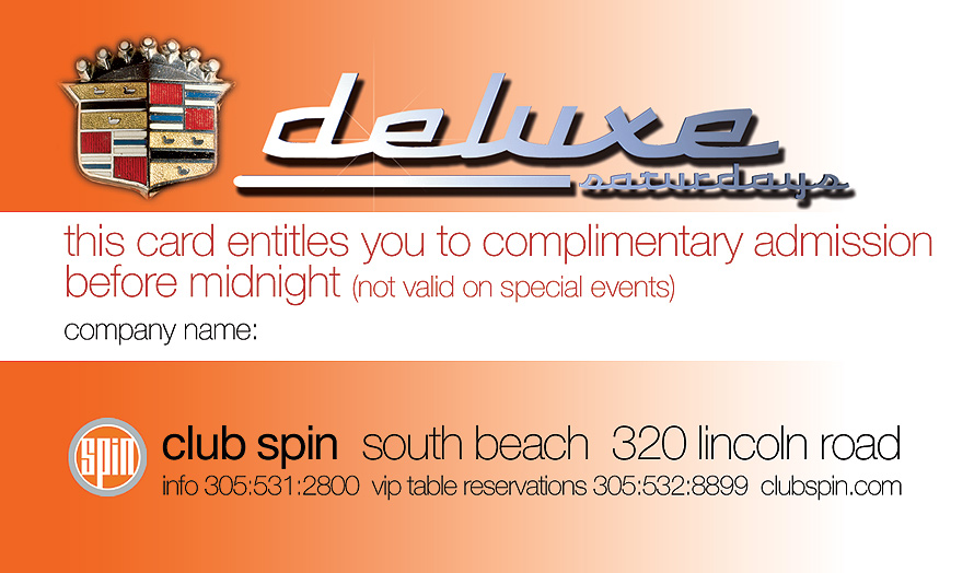 Deluxe Saturdays at Club Spin