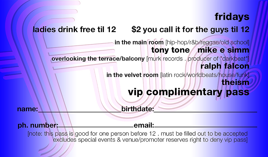 Fridays Complimentary VIP Pass