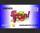 Fridays Complimentary VIP Pass - tagged with note