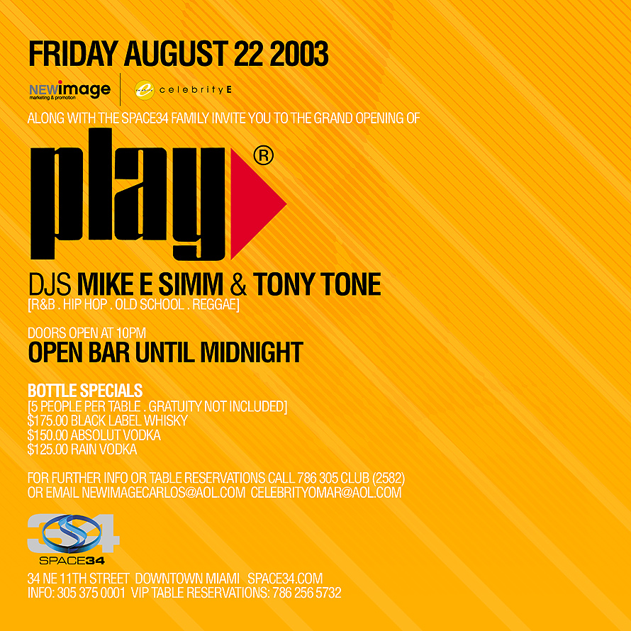 Play Event at Club Space