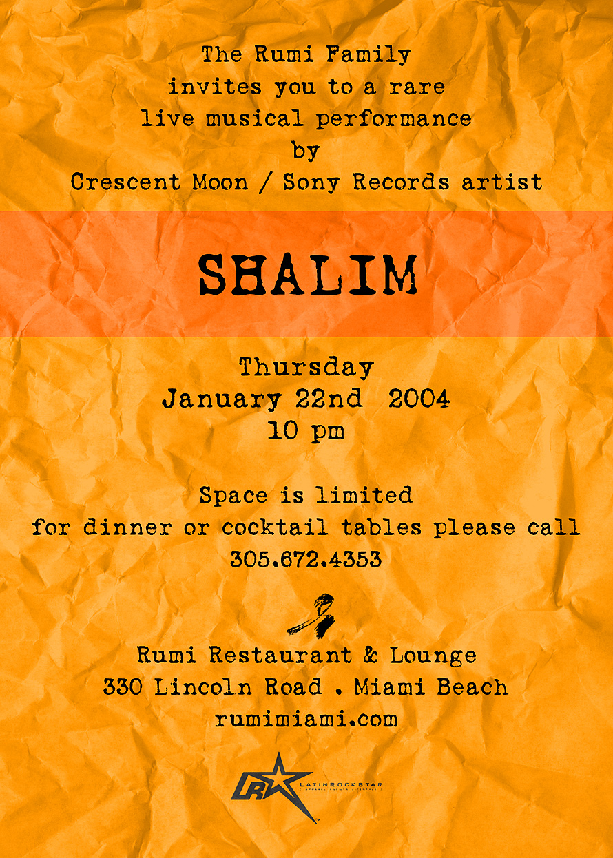 Shalim Event at Rumi Restaurant and Lounge