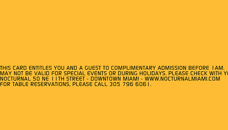 Complimentary Admission Pass at Nocturnal