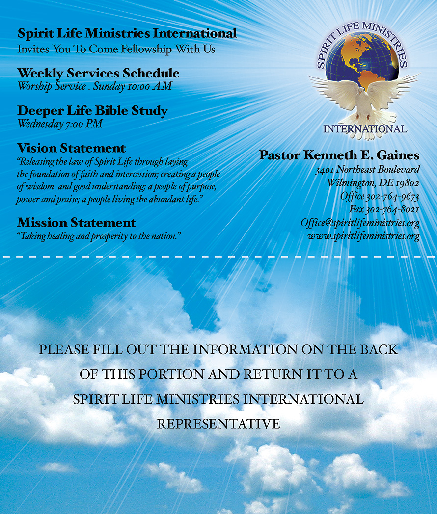 Spirit Life Ministries International Invites You To Come Fellowship