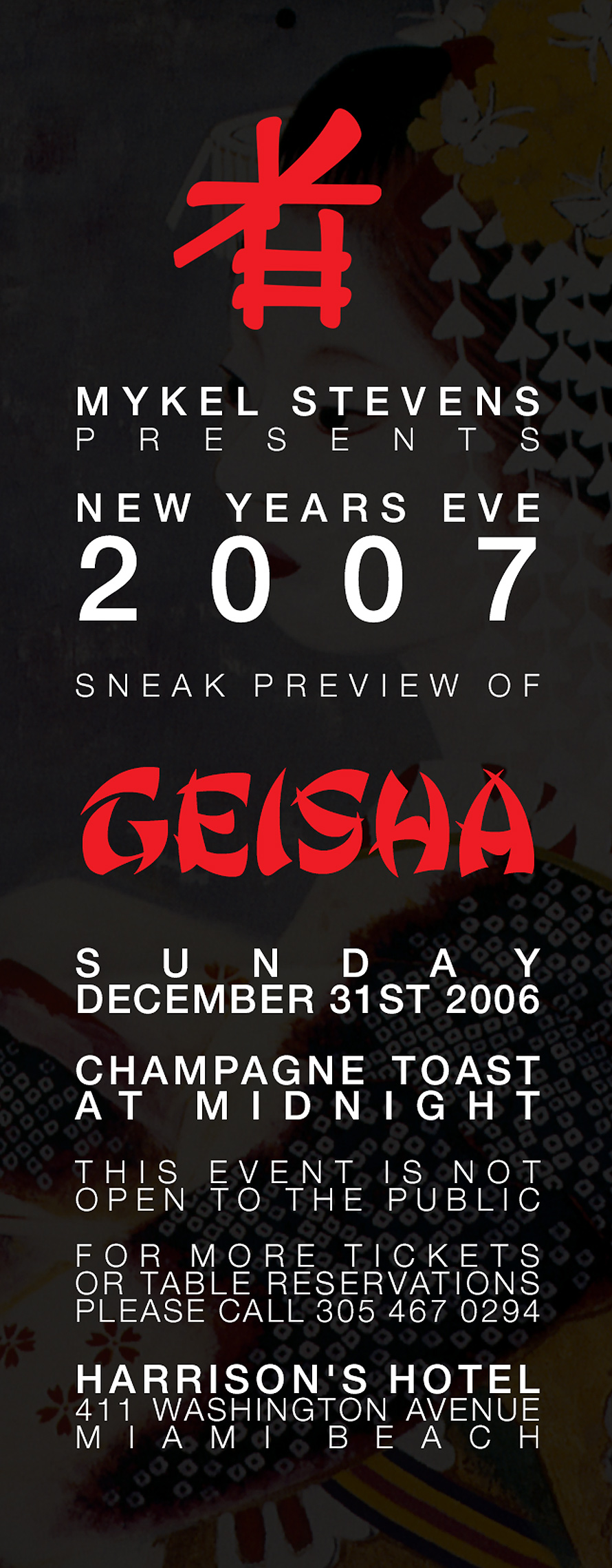 Mykel Stevens Presents Sneak Preview Geisha