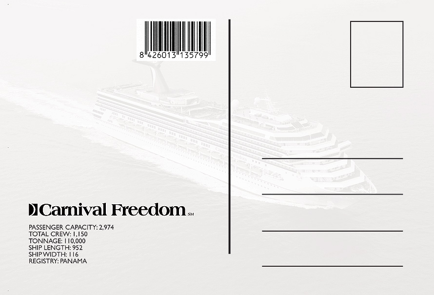 Carnival Cruise Lines Freedom Postcard