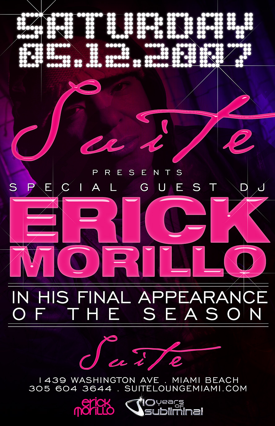 Suite presents Special Guest DJ Erick Morillo