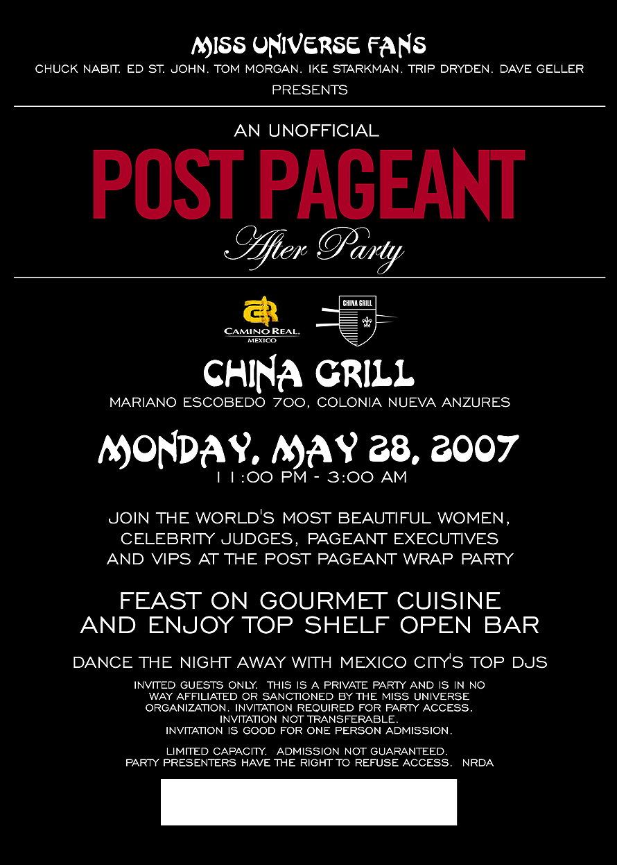 An Unofficial Post Pageant After Party