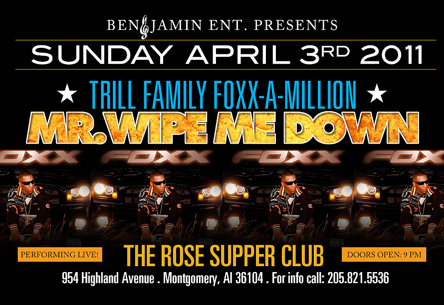 Mr Wipe Me Down Event at The Rose Supper Club