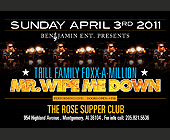 Mr Wipe Me Down Event at The Rose Supper Club - tagged with 9 pm