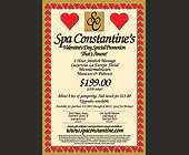 Spa Constantine's Valentines Day Promotion - tagged with becomes a open dollar amount to be used towards regular