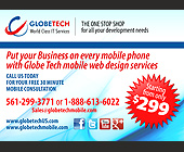 Globe Tech World Class IT Services - tagged with facebook logo