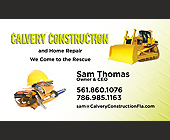 Calvery Construction  - Business Cards Graphic Designs