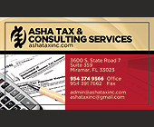 ASHA Tax & Consulting Services - 2.25x3.75 graphic design