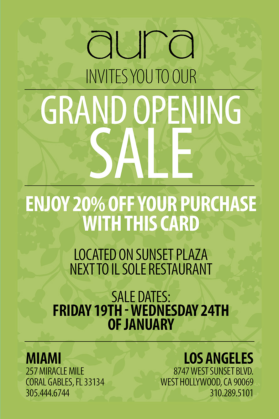 Aura Grand Opening Sale