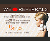 Avalon We Love Referrals - 2.75x4.25 graphic design