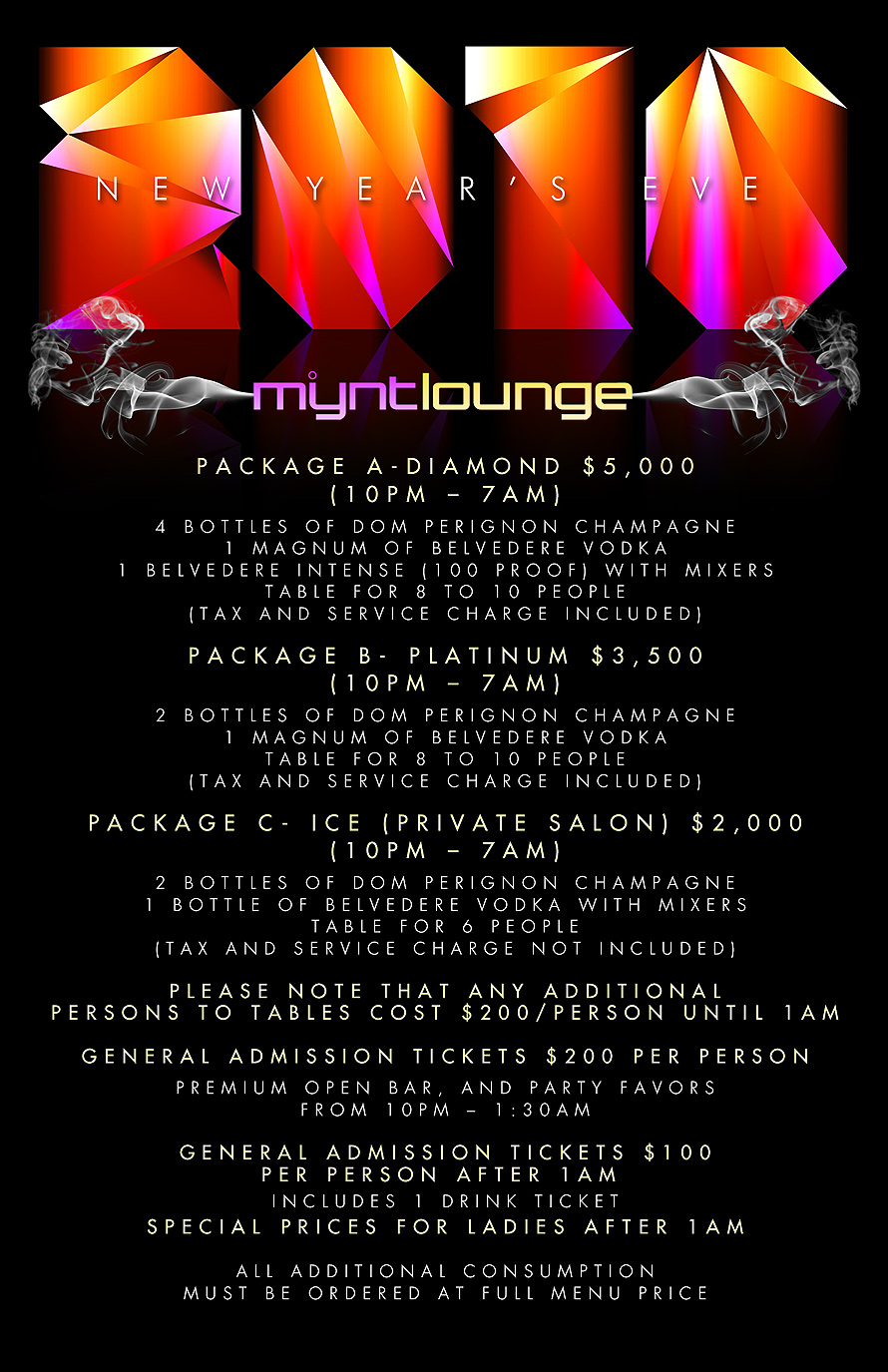 New Years Eve at Mynt Lounge