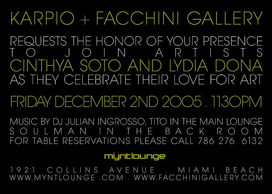 Karpio and Facchini Gallery at Mynt Lounge