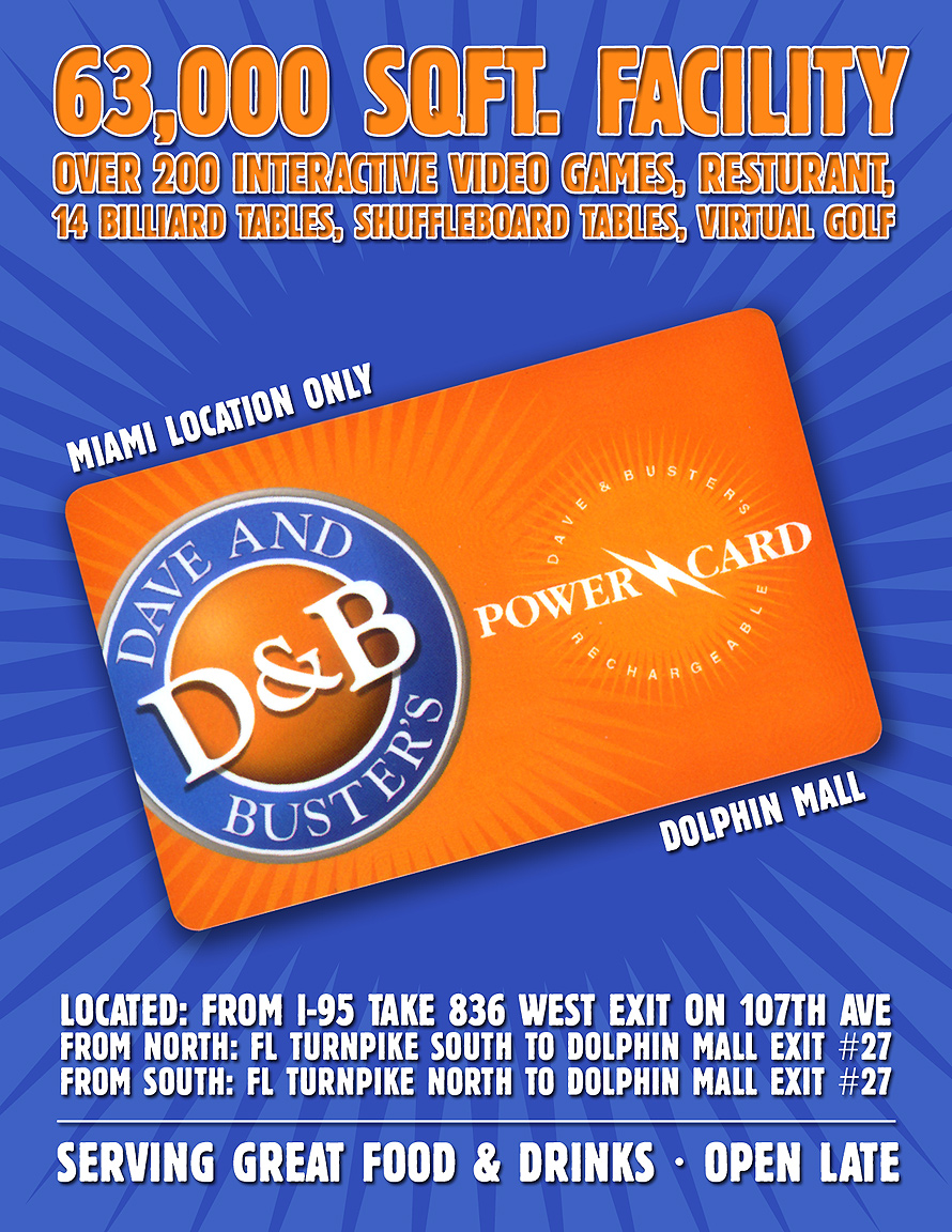 Dave and Busters Dolphin Mall Power Card