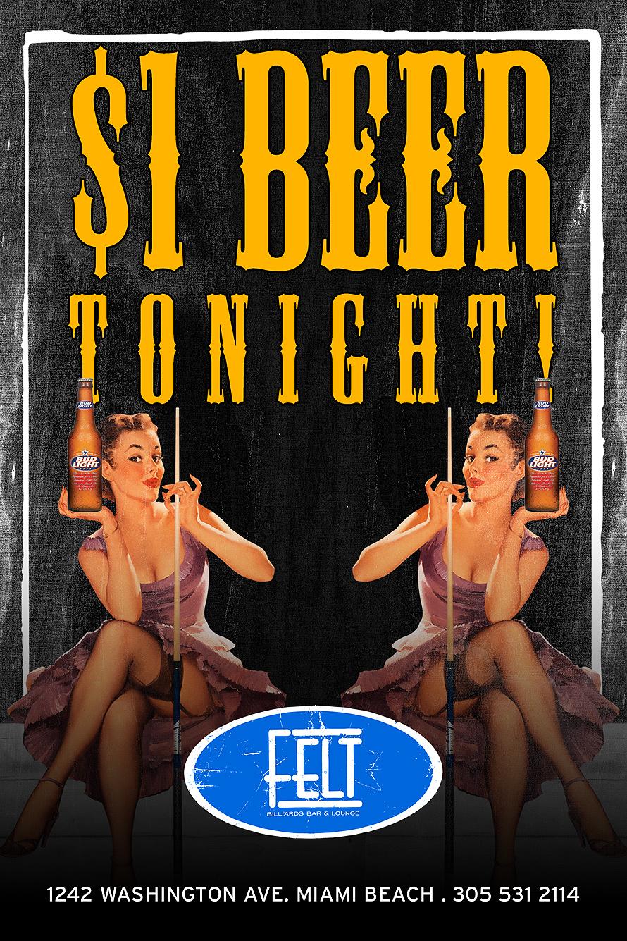 $1 Beer Tonight!