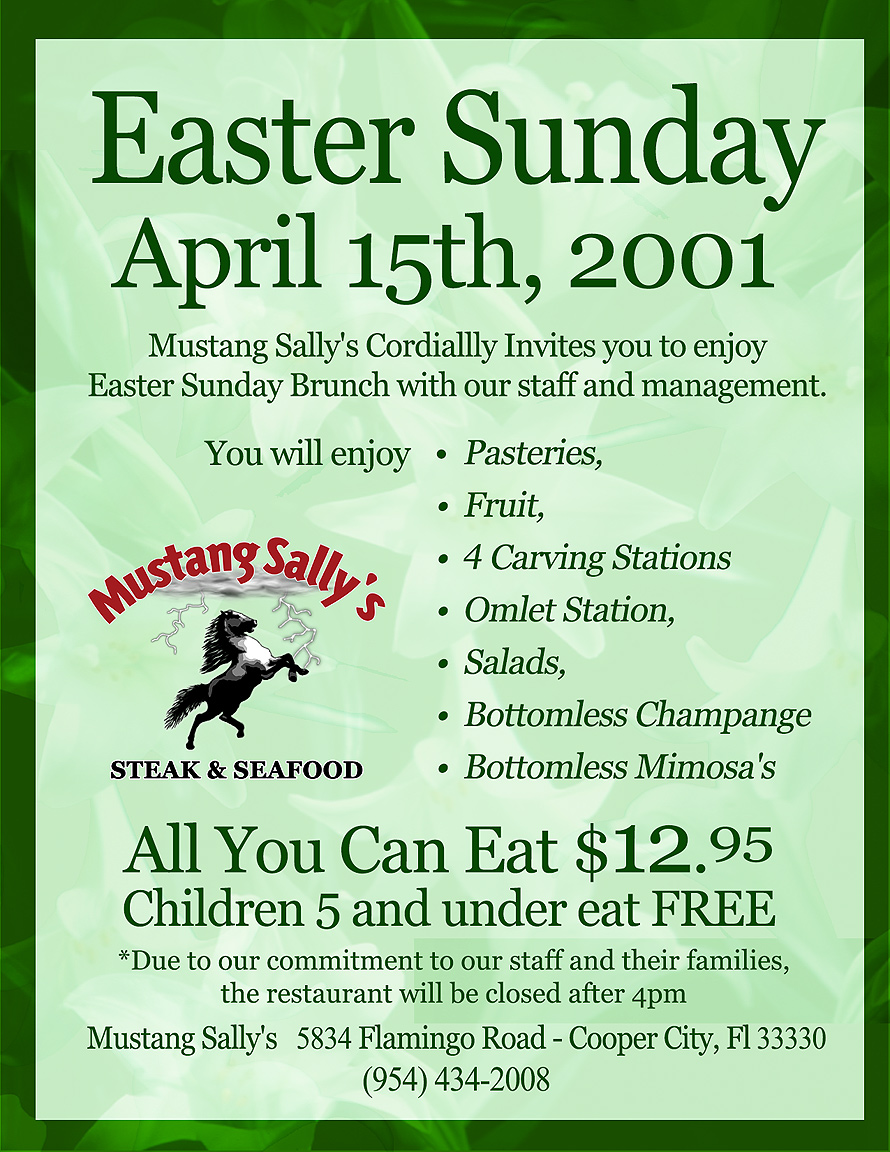 Easter Sunday Brunch at Mustang Sally's