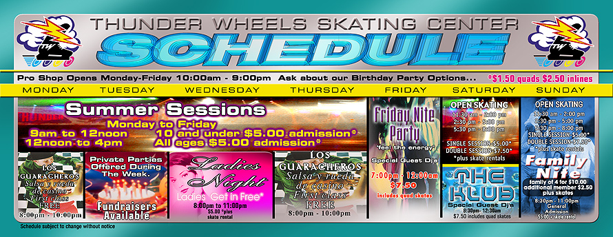 Thunder Wheels Skating Schedule