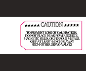 Servo Valve Warning Label - 1313x563 graphic design