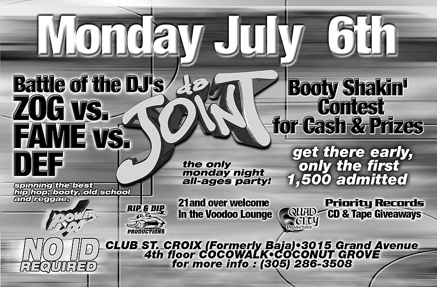 Da Joint All Ages Party and Body Shakin' Contest at Club St. Croix